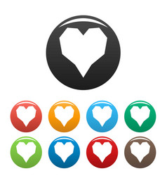 Angular heart icons set color vector