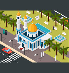 arab muslims near mosque composition vector image