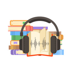 audio book and headphones flat vector image