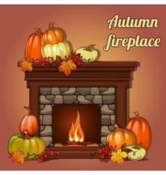 Autumn decor pumpkins and fireplace vector