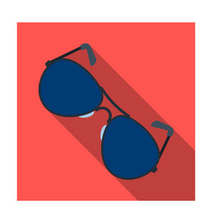 Aviator sunglasses icon in flat style isolated on vector