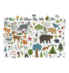 big set of hand drawn forest with vector image
