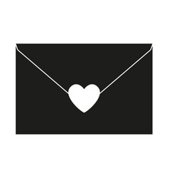 Black and white love letter silhouette vector