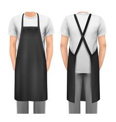 Black cotton kitchen apron set design template vector