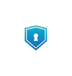 blue shield with keyhole logo design template vector image