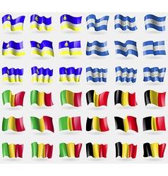 Buryatia Nicaragua Mali Belgium Set of 36 flags of vector image