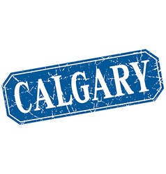 Calgary blue square grunge retro style sign vector
