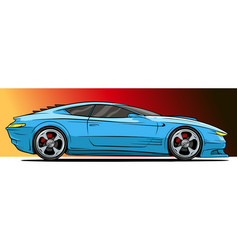 cartoon cool modern blue sport racing car vector image