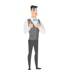 Caucasian groom watching movie in 3d glasses vector