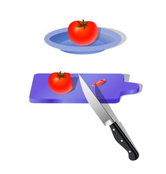 Chopped tomatoes for salad or other dish vector