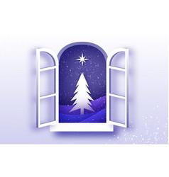 Christmas tree with star under snowfall vector