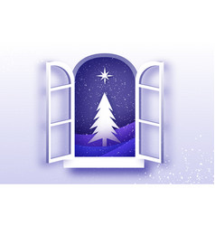 christmas tree with star under the snowfall vector image