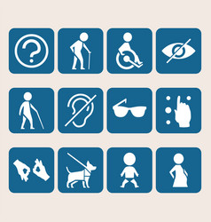 Colorful icon set of access signs for physically vector
