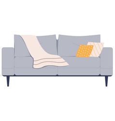 Comfortable gray sofa with pillows and plaid vector