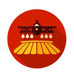 Crop duster airplane spraying a farm field icon vector