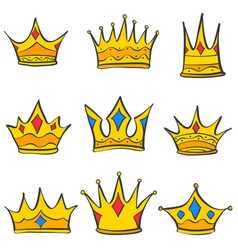 Crown elegant style set collection doodle vector