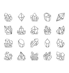 Crystal charcoal draw line icons set vector