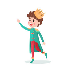 cute cartoon boy character in prince costume with vector image