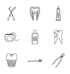 Dental clinic icons set outline style vector