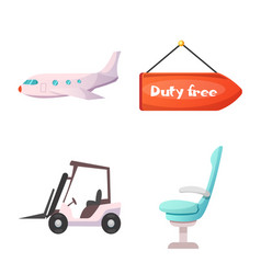 design airport and airplane sign set of vector image