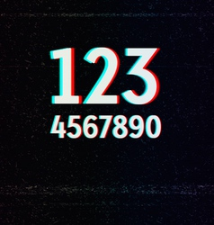 Digits with TV Stereo Effect vector image