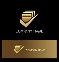 Document approve gold logo vector