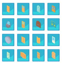 Door icon blue app vector