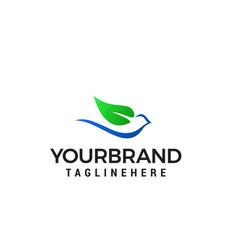 dove leaf logo design concept template vector image