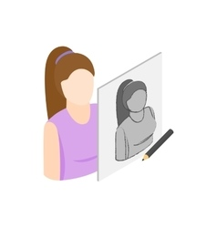 Drawing female portrait icon isometric 3d style vector image