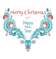 elk of christmas card vector image
