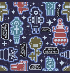 endless pattern with funny monsters from the space vector image
