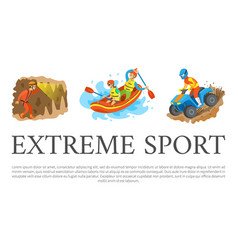 Extreme sport speleotourism and rafting water vector