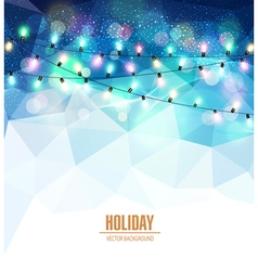 Festive blue background with luminous garlands vector