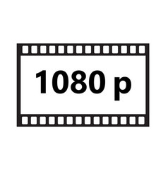 Flat icon of 1080p hd video on white background vector