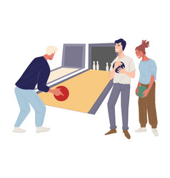 friends spending time in bowling fun activities vector image