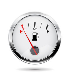 Fuel gauge round gauge with chrome frame vector