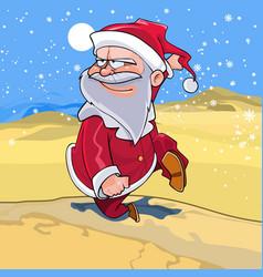 funny cartoon santa claus is running vector image