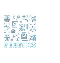 Genetics square design element in thin line vector