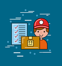 global logistic person cartoon vector image
