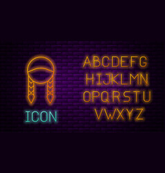 Glowing neon line braid icon isolated on brick vector