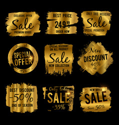 golden discount and price tag sale banners with vector image