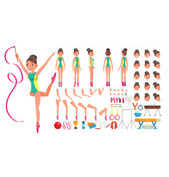 Gymnastics female animated character vector