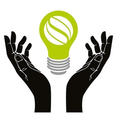 Hand with eco idea bulb symbol isolated vector image