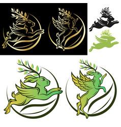 horned rabbit logo vector image