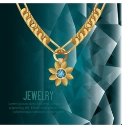 Icon necklace gold gem isolated vector