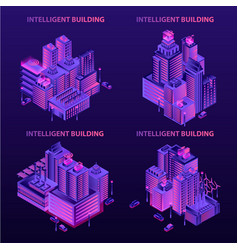 Intelligent building banner set isometric style vector