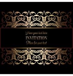 Wedding invitation black gold vector images over 1700 vintage gold invitation or wedding card on black vector stopboris Gallery