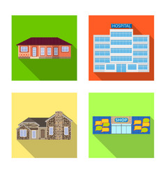 isolated object of building and front icon vector image