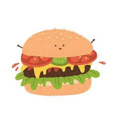 kawaii burger character funny fastfood with small vector image