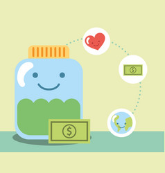 Kawaii charity jar glass banknote world love vector
